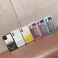 Bling Glitter Confetti Sequin Hard PC Soft TPU Cases For Iphone 13 12 Mini 11 Pro Max XR XS X 8 7 6 Foil Contrast Color Transparent Star Clear Mobile Phone Back Cover
