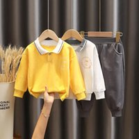 Autumn Childrens Sports Suit Boys Girls Casual Solid Color Lapel Sweater+Sports Trousers 2pcs Outfit Set 1-5 Years Clothing Sets
