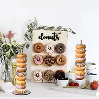 Hooks & Rails Wooden Donuts Wall Display Stand Holder Candy Sweets Doughnut Rack For Party Cake Store Supplies Ornaments