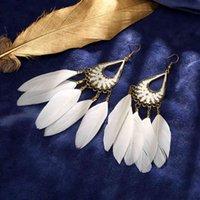 Hollow Water Drop Long Eardrop Tassel Feather Creative Brincos Imne