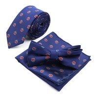Polyester Jacquard Animal Cravate Suit Ensemble Skinny Pocket Carré Mouchoir carré Papillon Brochette Crêche Necktique Slim Gravatas Accessoires Cravrances à cou