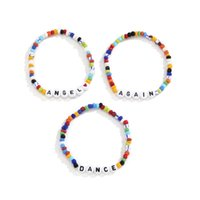 Yamog Woven Acrylic Letter Beaded Strands Bracelets Women Multi Layer Heart Colorful Hand Jewelry European Vacation Party Gift Beads Chain Accessories Mixed Color
