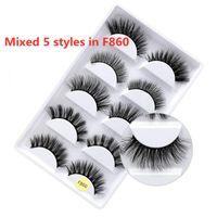 New 3D Falso Eyelashes 5 pares cílios luxurious cruz longa cabelo faux mink cílios dramáticos espessura natural cílios olho maquiagem ferramentas de maquiagem