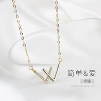 s Tanabata w Letter Necklace S925 Sterling Sier Necklace Women's Light Luxury Niche Dign Double v Pendant Gift