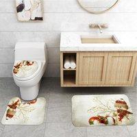 Christmas Snowman Print Bathroom Combination Set Shower Curtain + Bath Mat+ Lid Toilet Cover Pedestal Rug 4-Piece Accessory