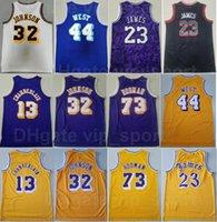 Mitchell Ness Basketball Vintage Wilt Chamberlain Jersey 13 Johnson 32 Lebron James 23 Jerry West 44 Dennis Rodman 73 Gelb Lila Weiß Schwarz Beige Team Männer Retro