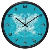 Wanduhren Moderner Schmetterling Schöne blaue Uhr Est Sweep Pendulum Indoor / Outdoor Süße Runde Klassik