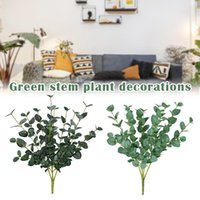 Artificial Branch With Leaves Faux Dried Eucalyptus Garland Branches Stems Fake Greenery Decor 889 Decorative Flowers & Wreaths