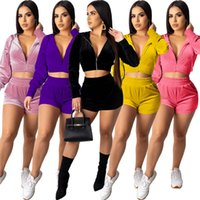 Women Jogger Suit Fall Winter clothes Tracksuits Velour Two Piece Set Long Sleeve Hooded Jacket+Shorts 2PCS S-XL Solid Outfits Outdoor Sweat suits 5626