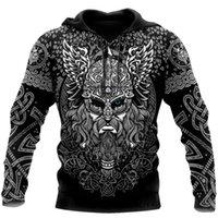 Women's Hoodies & Sweatshirts Men's Fashion Vikings Odin Tattoo 3D Full Printed Sweatshirt Unisex Zip Casual Jacket DY87 1JJH