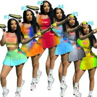 Designer Womens Tennis Tracksuits Summer Yoga Sports Suits Gradient Color Tank Top Shorts Skirt 2pcs Jogging Suit Skinny Outfits Plus Size