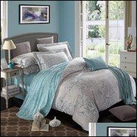 Supplies Textiles Home & Gardenultra Soft Brushed 100%Cotton Bedding Sets Vintage Floral Spring Blossm Birds Print Duvet Er Bed Sheet Pillow