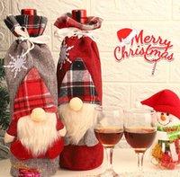Weihnachtswein-Cover-Plaid-Flasche-Kleidung Wein-Flaschen-Abdeckung Weihnachts-Verzierung Fachlose Santa Claus-Wein-Tasche Weihnachtsdekoration CCB10587