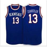 Özel Bay Youth Kadınlar Vintage # 13 Wilt Chamberlain Kansas Jayhawks Ku Basketbol Jersey Boyutu S-6XL veya özel herhangi bir isim veya numara forma