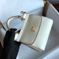 عالية الجودة مصمم حقائب فاخرة المحافظ البسيطة حقيبة يد جلد أبيض حقيبة يد حقيبة السيدات الأزياء حقائب عشاء dol حقيبة الكتف dol حجم 16 سنتيمتر