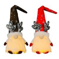 Boże Narodzenie Gnome Dekoracje z lekką Handmade Szwedzki Tomte Pluszowe Skandynawskie Elf Dekoracje Wakacje Decor XBJK2109