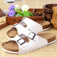 New Summer Beach Cork Slippers Sandals Casual Double Buckle Clogs Sandalias Women men Slip on Flip Flops Flats Shoes
