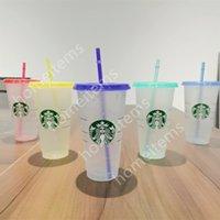 Starbucks Tazas de plástico Grado Color Fino Cambio de Tumblers Stebra Arco Iris Pieles Transparencia Alta Transparencia Bebidas Y Café Plano Pilar Forma Tazas Tazas Bardian 50 PCS DHL