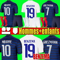 France 프랑스 유로 2020 2021 프랑스 축구 유니폼 축구 셔츠 2018 월드컵 저지 100th 100 년 남성 + 어린이 키트 유니폼 benzema 19 mbappe shorts socks