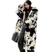 Kış Kürk Kadın Rüzgarlık Renk Eşleştirme Uzun İmitasyon Kürk Kadın Gevşek Kalın Sıcak Kapüşonlu Kadın Ceket 210902
