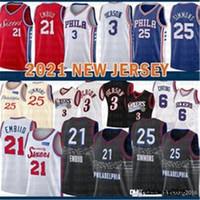 2021 Top Basketball Jersey Mens 76er Jersey Allen 3 Iverson Joel 21 Embiid Ben 25 Simmons Julius 6 멀티 망