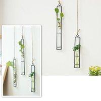 Vases Iron Art Flower Vase DIY Hydroponic Plants Floral Glass Test Tube Wall Hanging Transparent Bottle Home Office Decor