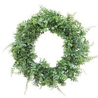 الزهور الزخرفية أكاليل 15.7inches (40 سنتيمتر) محاكاة الأخضر السرخس ورقة اكليلا من الباب الأمامي جدار نافذة حزب ديكور