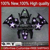 Body Kit For KAWASAKI NINJA ZX-6R ZX-636 ZX600 ZX6R 98 99 Bodywork 16No.63 ZX-600 600CC ZX636 1998 1999 ZX 636 600 CC 6 R 6R ZX600CC 98-99 Motorcycle Fairing purple stars