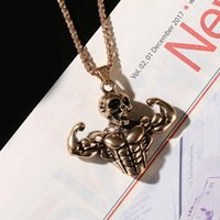 Rock Gold Goth Man Pendant Nacklace Women Skull Hip Hop Jewerly Metal Punk Muscle Triangle Long Rope Party Gifts Necklaces