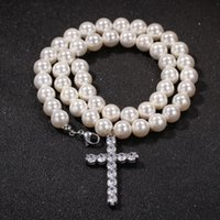Moda Mens Pearl Collana perline Collana Hip Hop Jewelry Iced Out Cross Pendant Collane 8mm 10mm