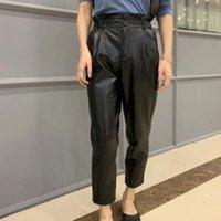 Women's Pants & Capris Genuine Leather Women Plus Size 2021 Winter Fashion Streetwear Elastic Waist Trousers High Harem