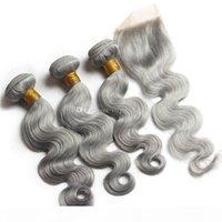 Pacotes de cabelo cinza virgem onda corporal com fecho cinza cor corporal onda de cabelo trama extensão com laço fechamento 4x4 média livre de três peça