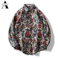 Ajzhy Homens Camisa Manga Longa Botão Do Vintage Up Grosso Camisas Casacos Casacos Quente Oversize Hip Hop Harajuku Casual Homens Roupas 210323