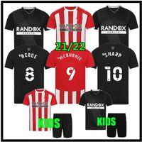 2021 2022 Sheffield Futbol Formaları Mousset Birleşik 21 22 McBurnie Lundstram Fleck Eve Uzaktan Futbol Gömlek Norwood Keskin Erkekler + Çocuklar Jersey Set