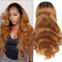 Lace Wigs 250% Density Ombre Blonde Colored 13x6 Body Wave Front Pre Plucked Bleached For Women Brazilian Human Hair 32 In