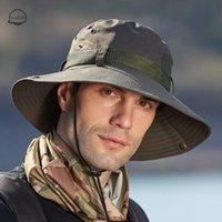 남자 야외 하이킹 캠핑 와이드 브림 어부 모자 등산 방수 낚시 안티 UV 양동이 모자 유니섹스 태양 모자