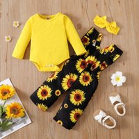 Clothing Sets 0-24 Months Baby Girls Autumn 3Pcs Outfit Solid Color Long Sleeves Romper Sunflower Suspender Pants Headband