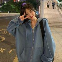 Zip up Women Korean Style hoodies For Girls Top Vintage Solid Long Sleeve Oversized Hooded Sweatshirt Jacket Casual Large Coats