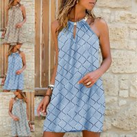 Out A-Line Sundress Shoulder Halter Loose Dress Solid Elegant Sleeveless Party Dress Fashion Casual Women Hollow Summer Sexy Off