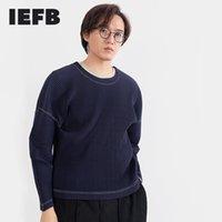 IEFB Alta calidad Camiseta plisada para hombre Manga larga Tops plegables sueltos Casual Off Hombro Cuello redondo Manga de mestidamiento Paño 210524