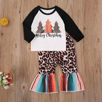 Clothing Sets 0-4Y Infant Kids Baby Girls Long Sleeve Santa Trees Shirt Leopard Rainbow Striped Flare Pants Outfits Merry Christmas Clothes