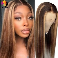 Lace Wigs Brown Highlight Colored Wig Human Hair Straight Long Ombre Blonde Front For Woman Pre Plucked Peruvian Remy