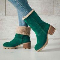 Winter Snow Boots Women Casual Shoes Mid Heels Platform Ankle Ladies Fur Warm Woman Flock Suede Booties