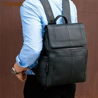 Backpack Business Simple Genuine Leather Men Women's Backpacks Fashion Outdoor Computer Bagpack Black Light Natural Real Cowhide Bookbag