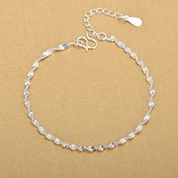 925 Ayar Gümüş Moda Basit Zarif Bükülmüş Link Zincir Bilezikler Takı Kadın Dalga Halhal Hediyeler Için