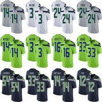 """الرجال النساء الشباب / أطفال 3 Russell Wilson 14 DK Metcalf Football Jerseys Seattle """"جمال Adams Bobby Wagner 12s Seahawk"""" Fan 24 Marshawn Lynch Tyler Lockett Jersey"""