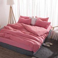 Set di biancheria da letto rosa lavato in cotone set copripiumino con lenzuolo foglio federa singolo doppio doppio matrimoniale full queen king king size per arredamento camera da letto