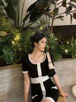605 2021 Summer A Line Short Sleeve Dress Prom Fashion Flora Print Above Knee Black White Brand Same Style Black Kint Letter FALUOLAN