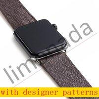 Watch Band Strap för Apple Series 1 2 3 4 5 6 38mm 40mm 42mm 44mm PU Läder Smart Klockor ersättning med adapterkontakt L01