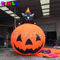 Newly inflatable halloween decoration giant inflatables pumpkin with black cat for outdoor event